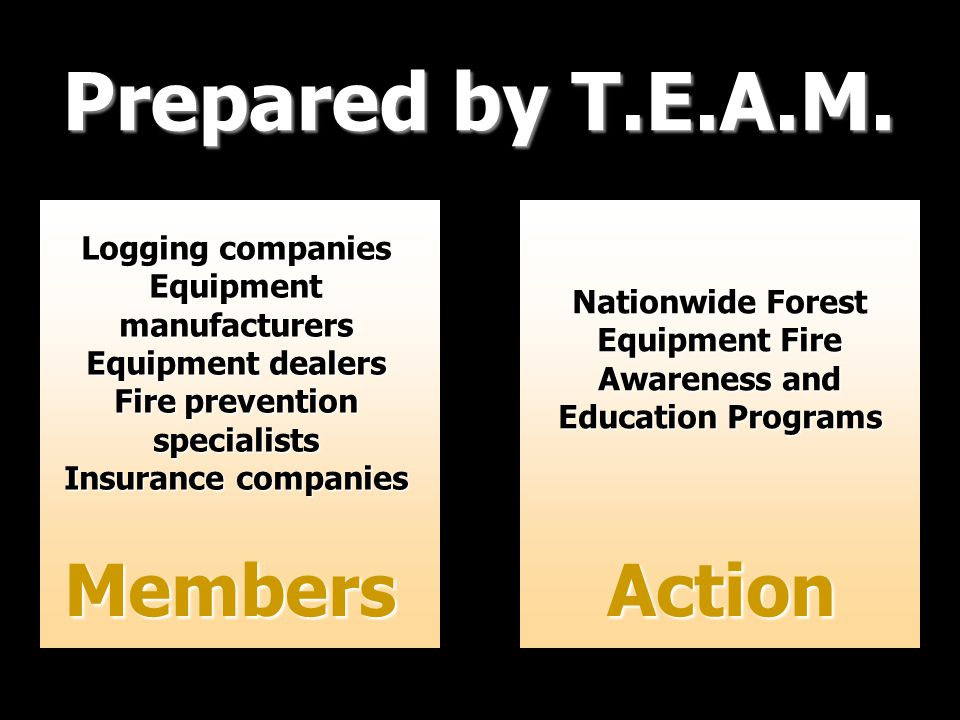 Prepared by T.E.A.M. Members Logging companies Equipmentmanufacturers Equipment dealers Fire prevention specialists Insurance companies Nationwide For