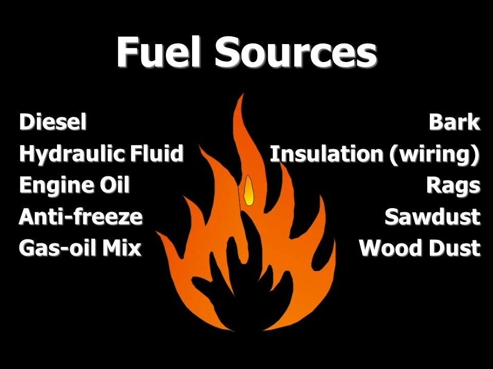 Fuel Sources Diesel Hydraulic Fluid Engine Oil Anti-freeze Gas-oil Mix Bark Insulation (wiring) RagsSawdust Wood Dust