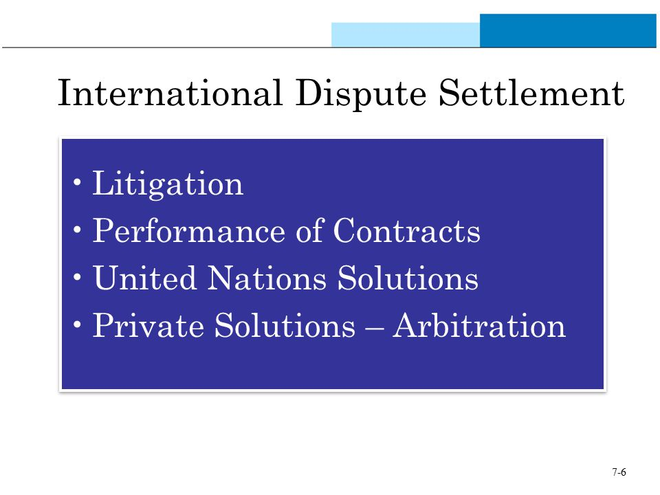 7-6 International Dispute Settlement Litigation Performance of Contracts United Nations Solutions Private Solutions – Arbitration Litigation Performan