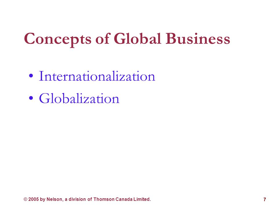 © 2005 by Nelson, a division of Thomson Canada Limited. 6 Eras of Internationalization 1980s-The New International Order Though the U.S. role in the w