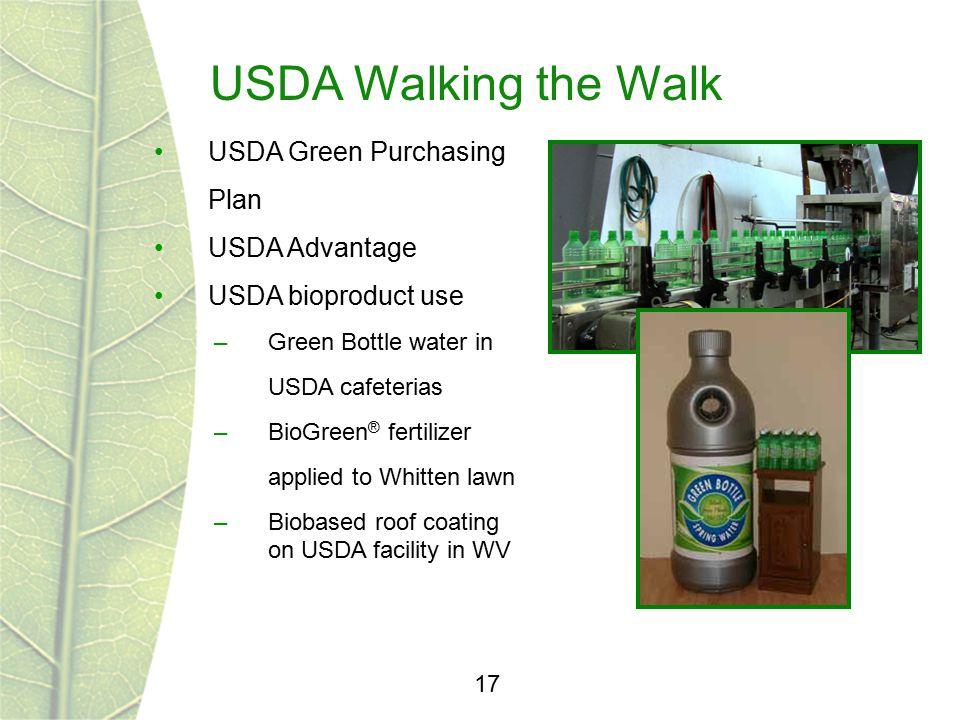 USDA Walking the Walk 17 USDA Green Purchasing Plan USDA Advantage USDA bioproduct use –Green Bottle water in USDA cafeterias –BioGreen ® fertilizer a