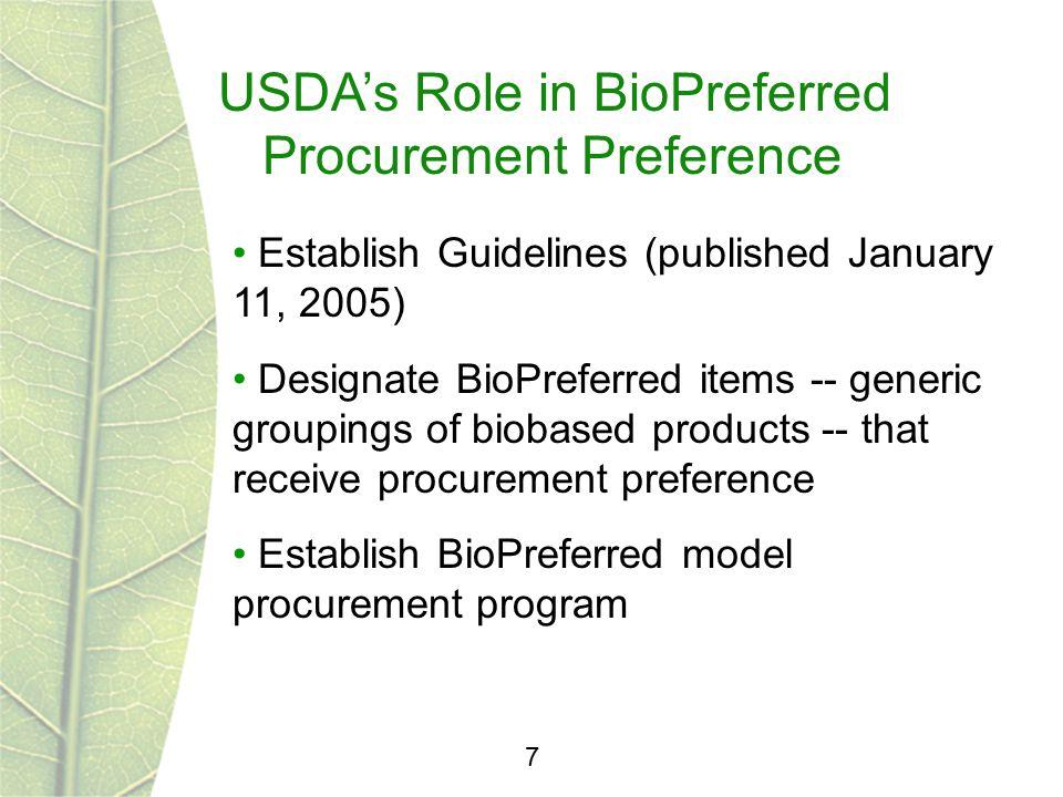 USDA's Role in BioPreferred Procurement Preference 7 Establish Guidelines (published January 11, 2005) Designate BioPreferred items -- generic groupin