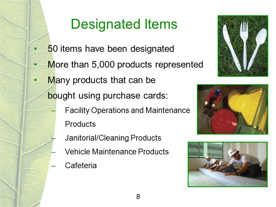 Designated Items 8 50 items have been designated More than 5,000 products represented Many products that can be bought using purchase cards: –Facility