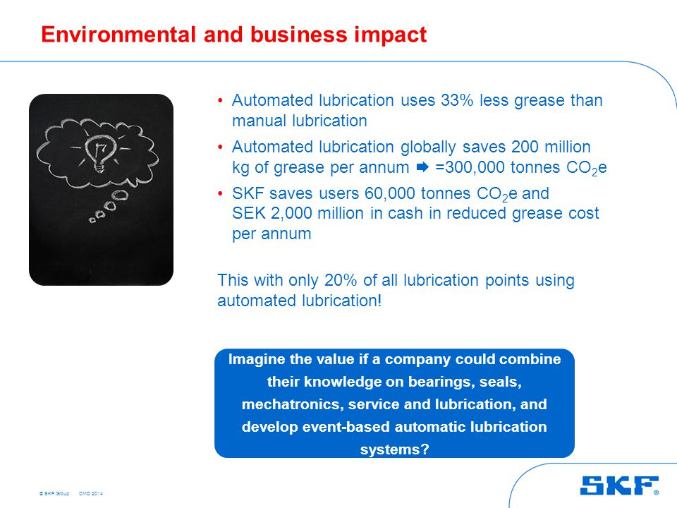 © SKF Group Environmental and business impact Automated lubrication uses 33% less grease than manual lubrication Automated lubrication globally saves