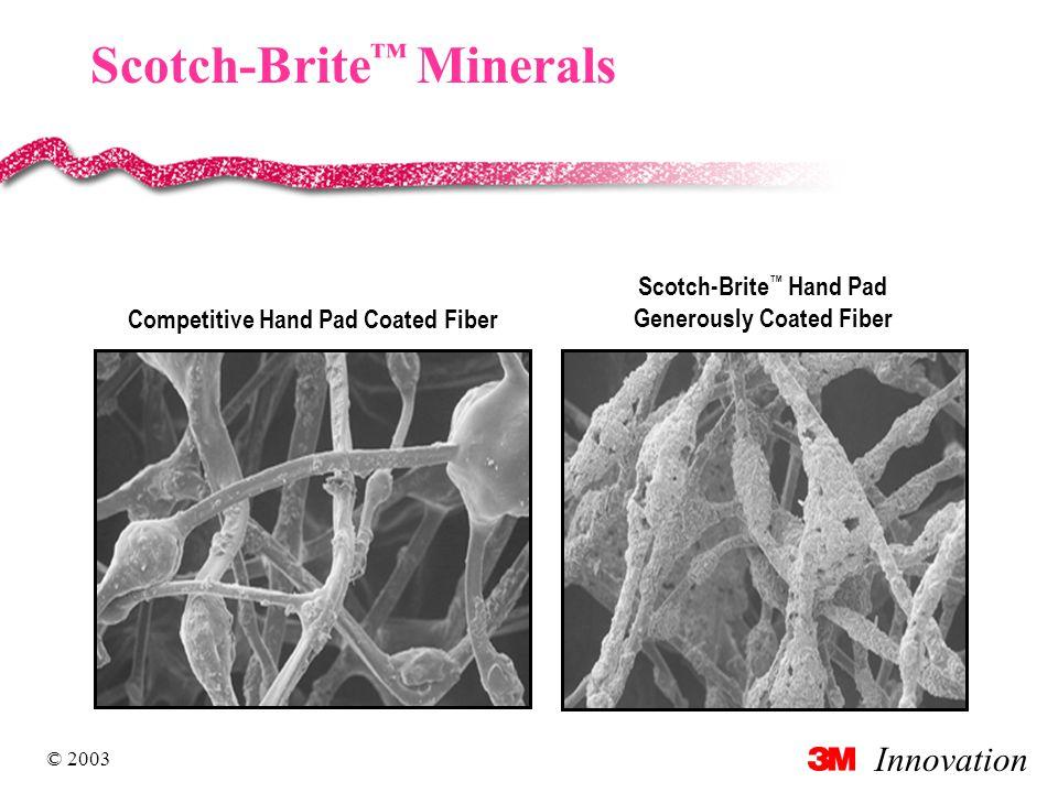 Innovation © 2003 Scotch-Brite ™ Minerals Competitive Hand Pad Coated Fiber Scotch-Brite ™ Hand Pad Generously Coated Fiber