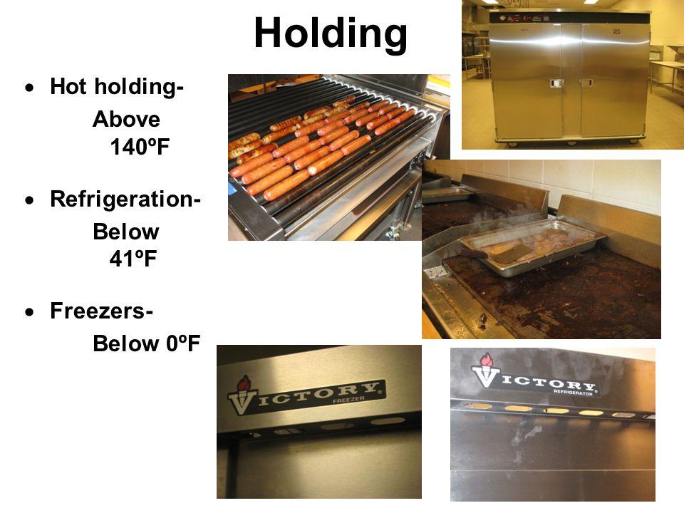 Holding  Hot holding- Above 140ºF  Refrigeration- Below 41ºF  Freezers- Below 0ºF