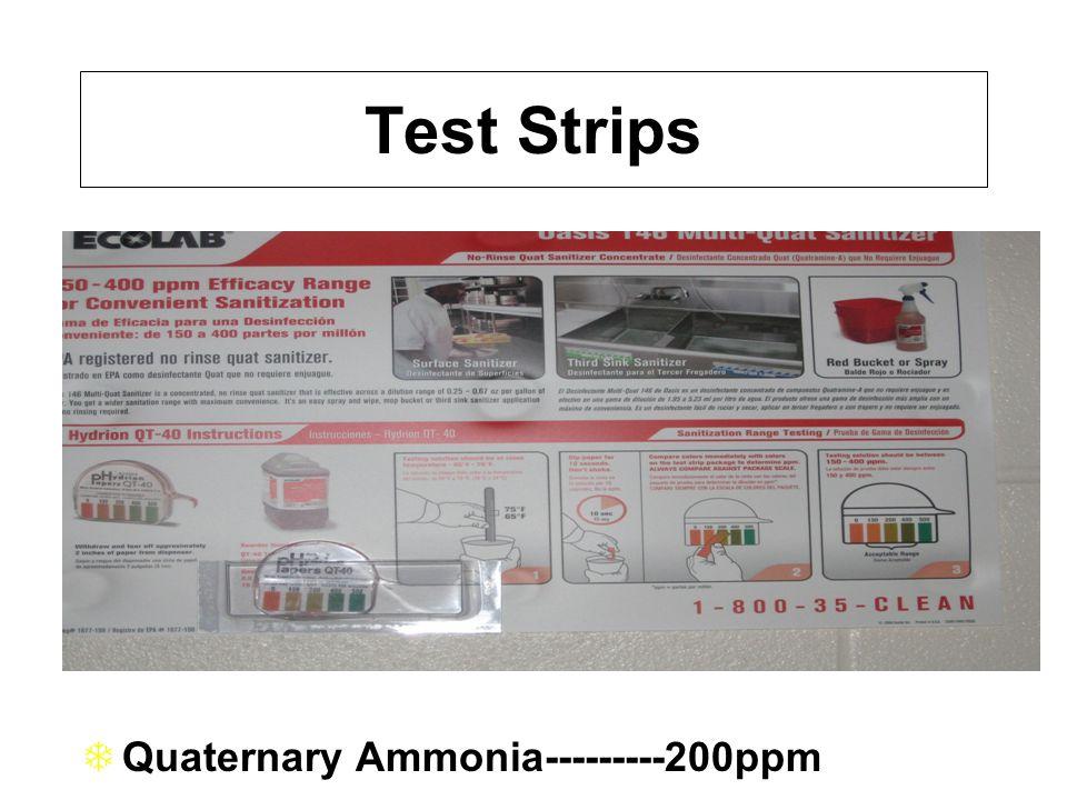 Test Strips TQuaternary Ammonia---------200ppm   