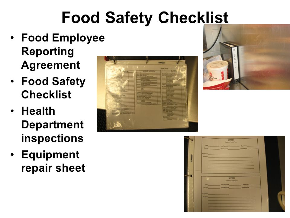 Food Safety Checklist Food Employee Reporting Agreement Food Safety Checklist Health Department inspections Equipment repair sheet