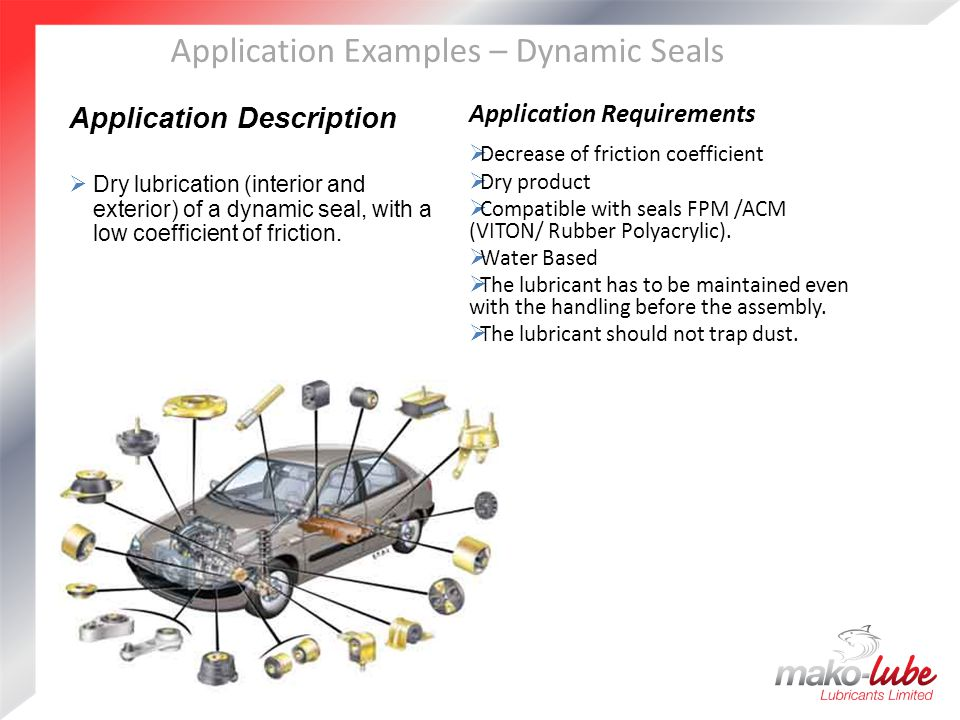 Application Examples – Dynamic Seals Application Description  Dry lubrication (interior and exterior) of a dynamic seal, with a low coefficient of friction.