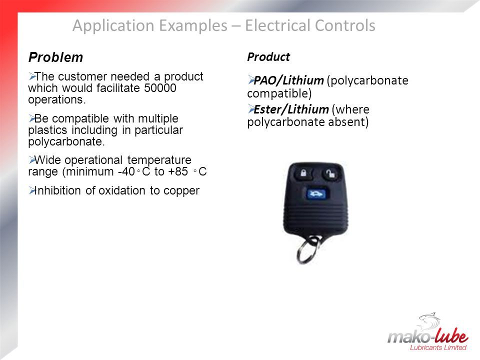 Application Examples – Electrical Controls Problem  The customer needed a product which would facilitate 50000 operations.