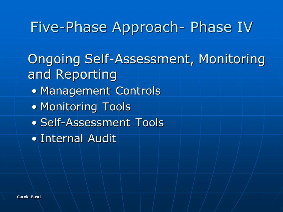 Carole Basri Five-Phase Approach- Phase IV Ongoing Self-Assessment, Monitoring and Reporting Management ControlsManagement Controls Monitoring ToolsMonitoring Tools Self-Assessment ToolsSelf-Assessment Tools Internal AuditInternal Audit