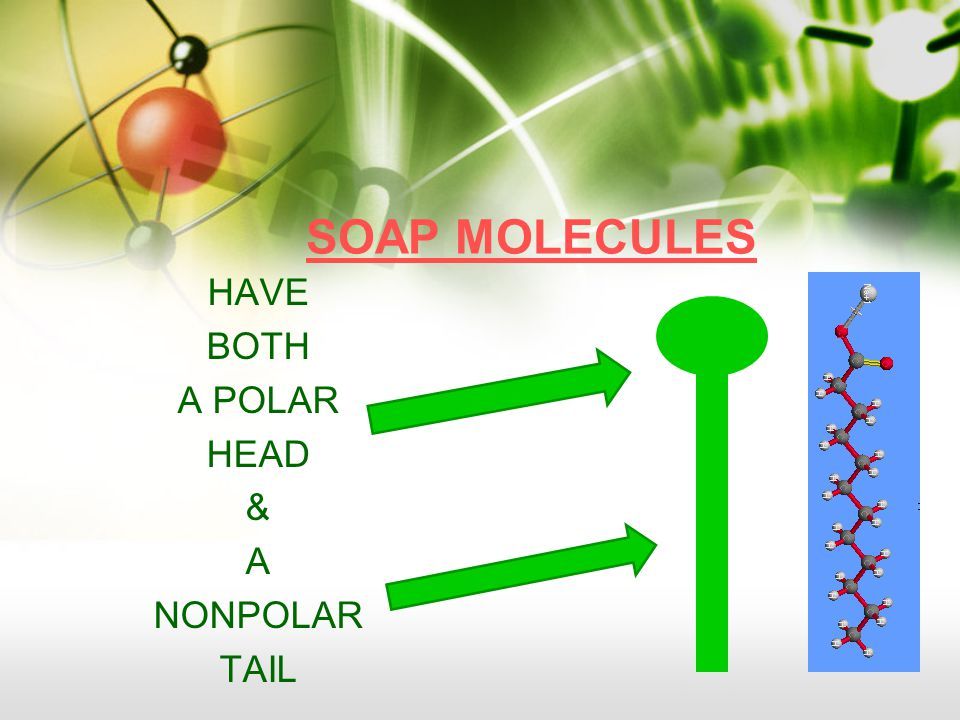 SOAP MOLECULES HAVE BOTH A POLAR HEAD & A NONPOLAR TAIL