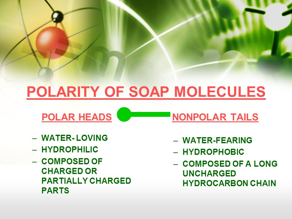 POLARITY OF SOAP MOLECULES POLAR HEADS –WATER- LOVING –HYDROPHILIC –COMPOSED OF CHARGED OR PARTIALLY CHARGED PARTS NONPOLAR TAILS –WATER-FEARING –HYDROPHOBIC –COMPOSED OF A LONG UNCHARGED HYDROCARBON CHAIN