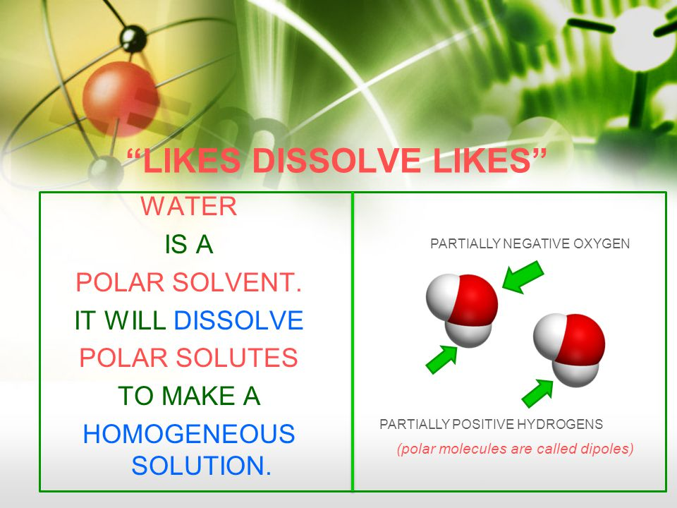 LIKES DISSOLVE LIKES WATER IS A POLAR SOLVENT.