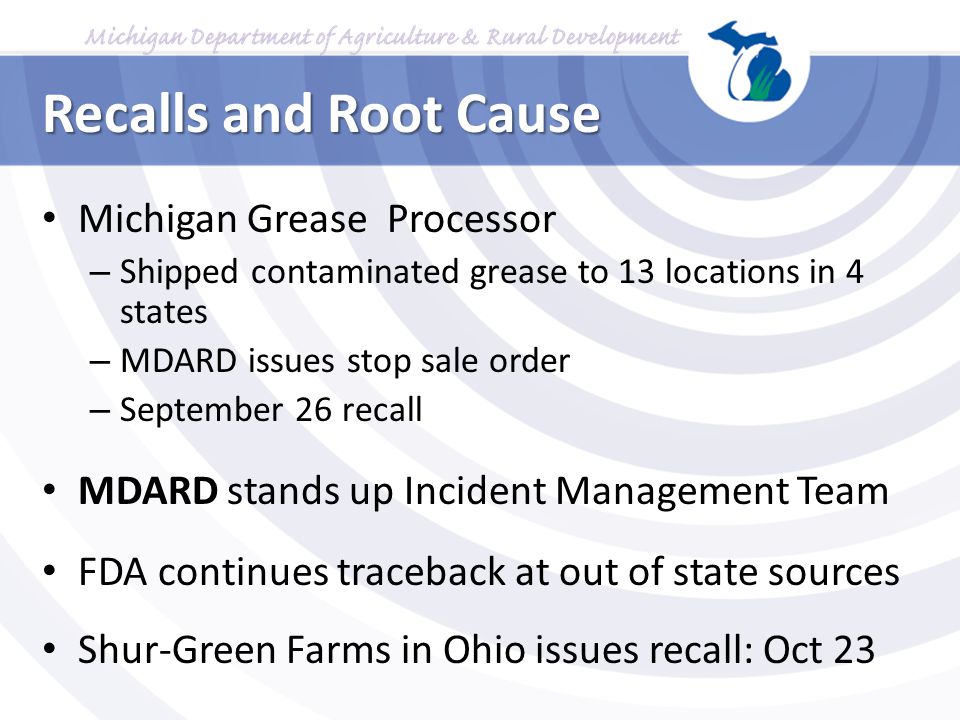 Recalls and Root Cause Michigan Grease Processor – Shipped contaminated grease to 13 locations in 4 states – MDARD issues stop sale order – September