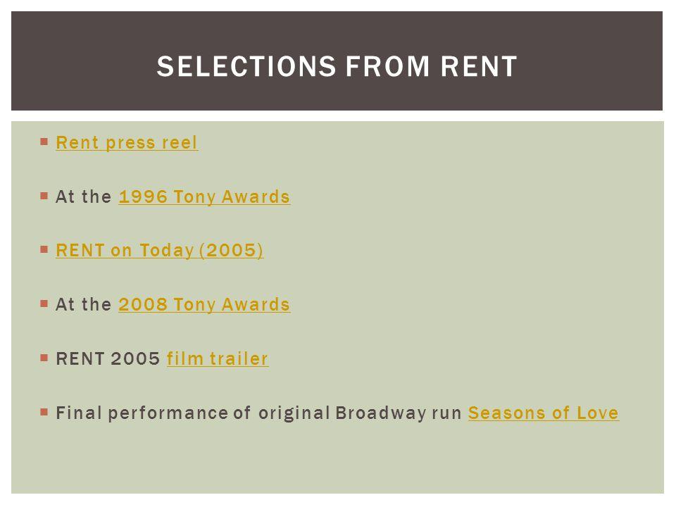  Rent press reel Rent press reel  At the 1996 Tony Awards1996 Tony Awards  RENT on Today (2005) RENT on Today (2005)  At the 2008 Tony Awards2008