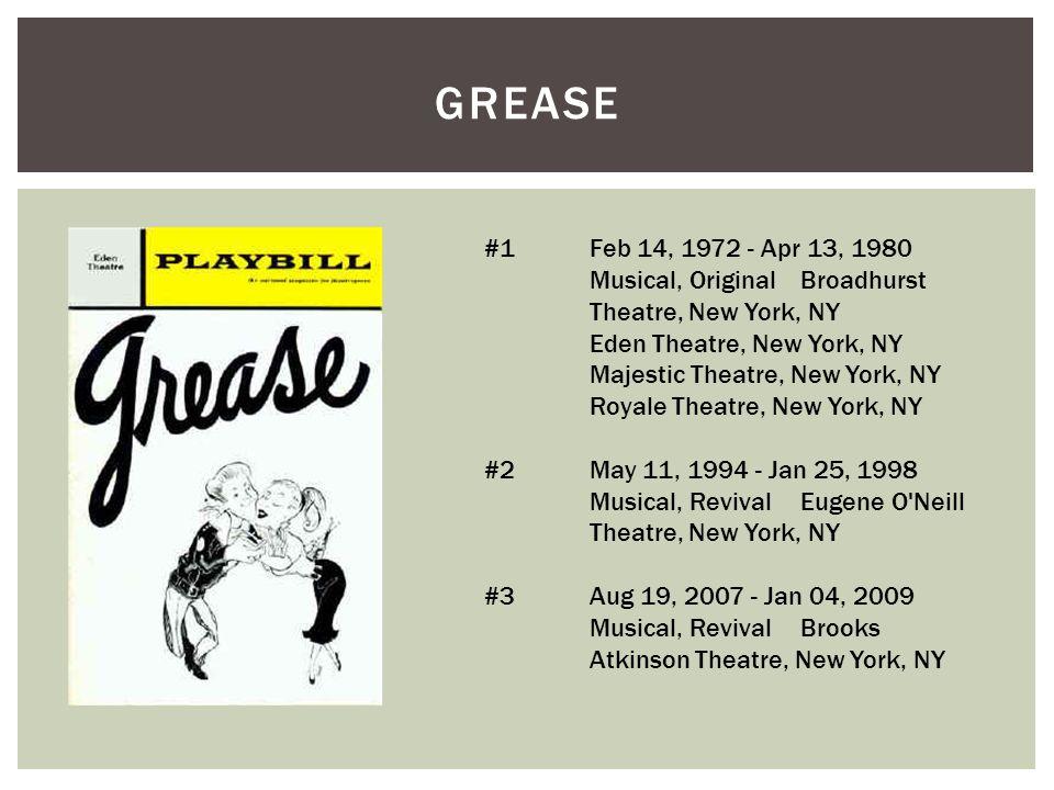 GREASE #1 Feb 14, 1972 - Apr 13, 1980 Musical, Original Broadhurst Theatre, New York, NY Eden Theatre, New York, NY Majestic Theatre, New York, NY Roy