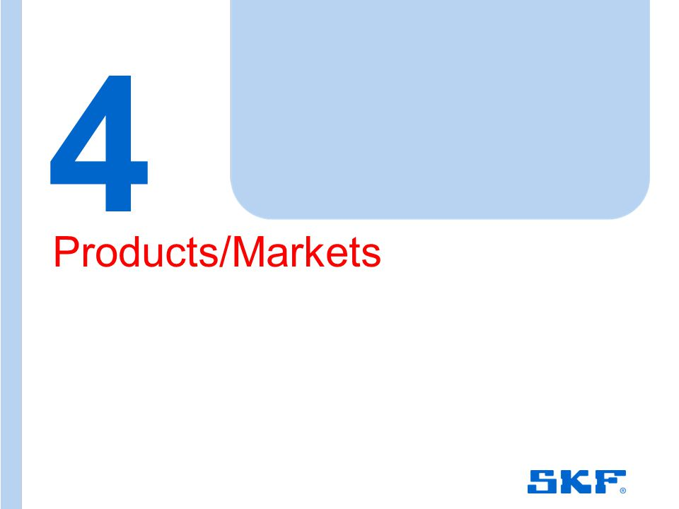 October 30, 2007 © SKF Group Slide 12 4 Products/Markets