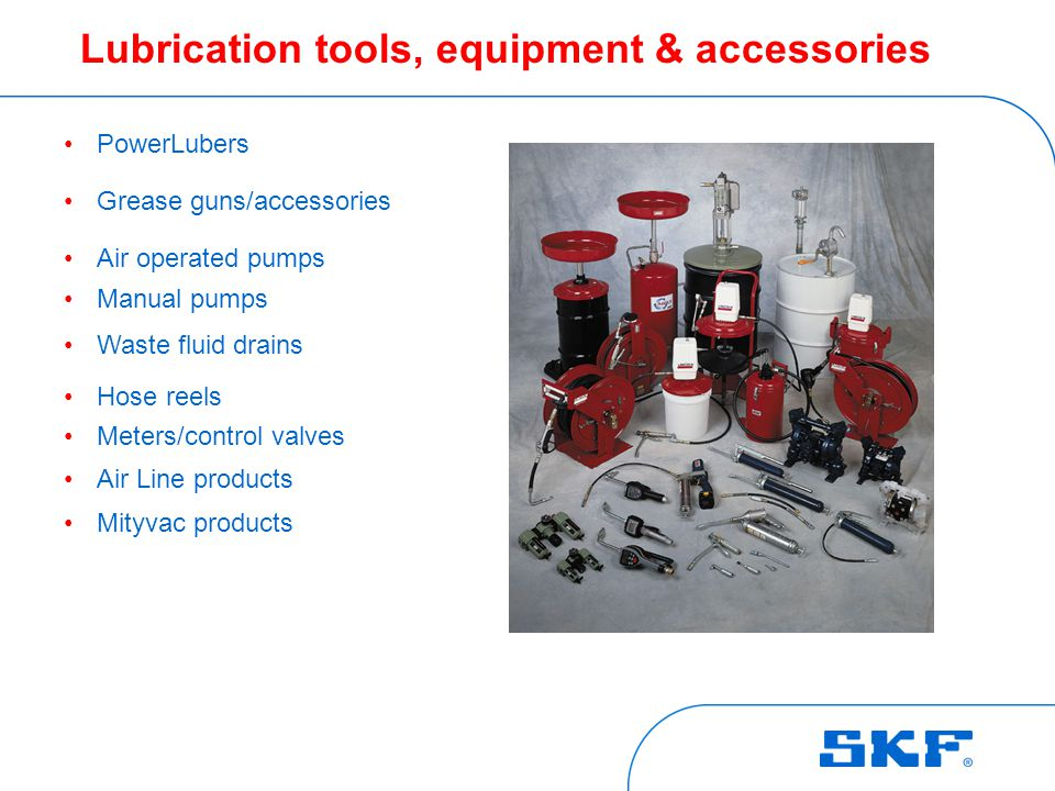 Lubrication tools, equipment & accessories PowerLubers Grease guns/accessories Air operated pumps Manual pumps Waste fluid drains Hose reels Meters/control valves Air Line products Mityvac products