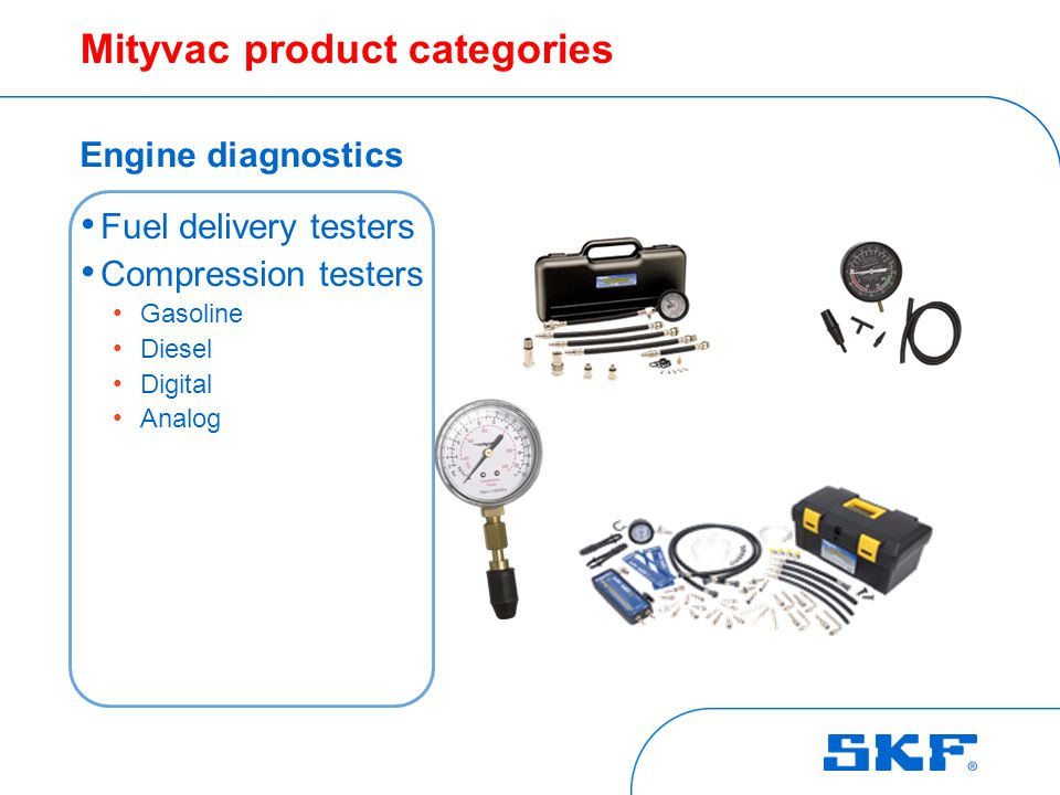 Mityvac product categories Engine diagnostics Fuel delivery testers Compression testers Gasoline Diesel Digital Analog