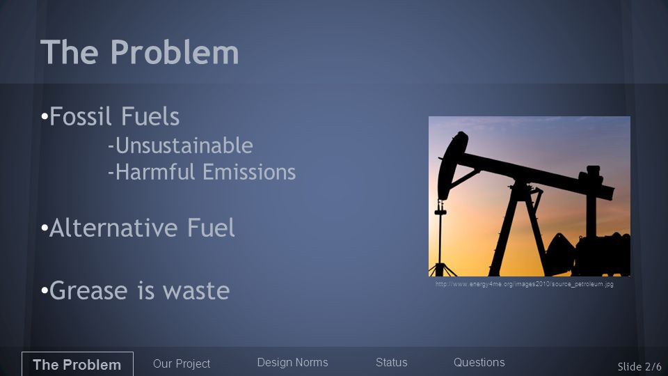 The Problem Fossil Fuels -Unsustainable -Harmful Emissions Alternative Fuel Grease is waste The Problem Our Project Design Norms StatusQuestions http://www.energy4me.org/images2010/source_petroleum.jpg Slide 2/6
