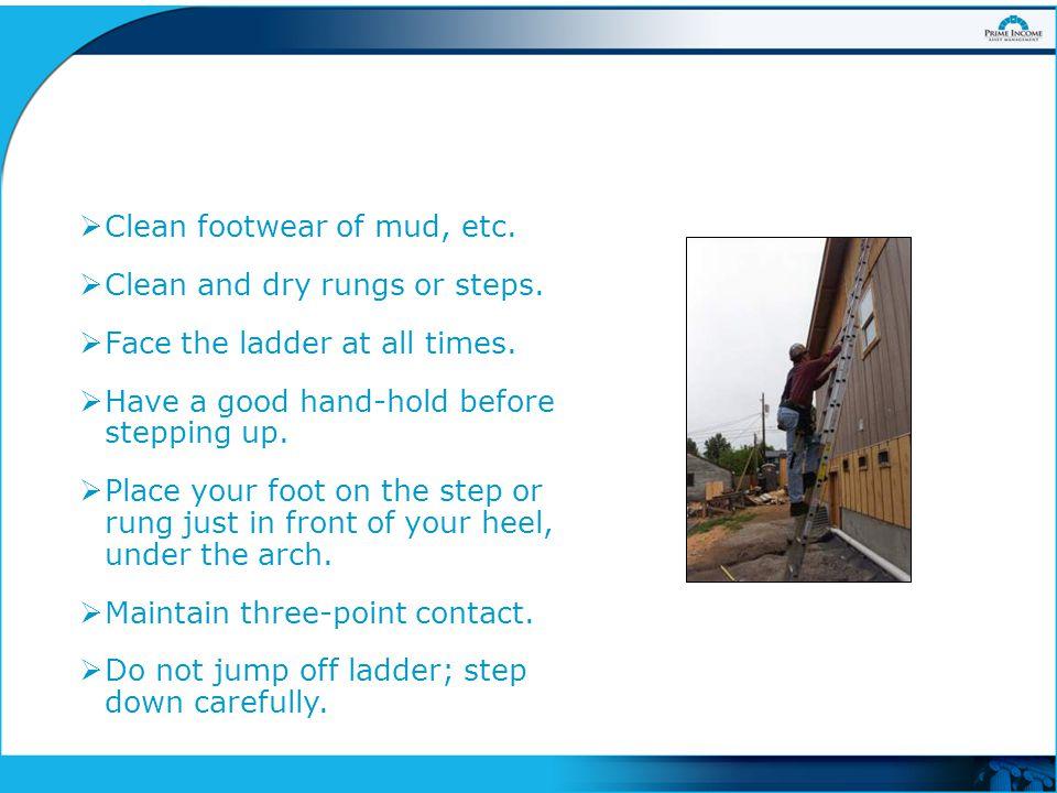  Clean footwear of mud, etc. Clean and dry rungs or steps.