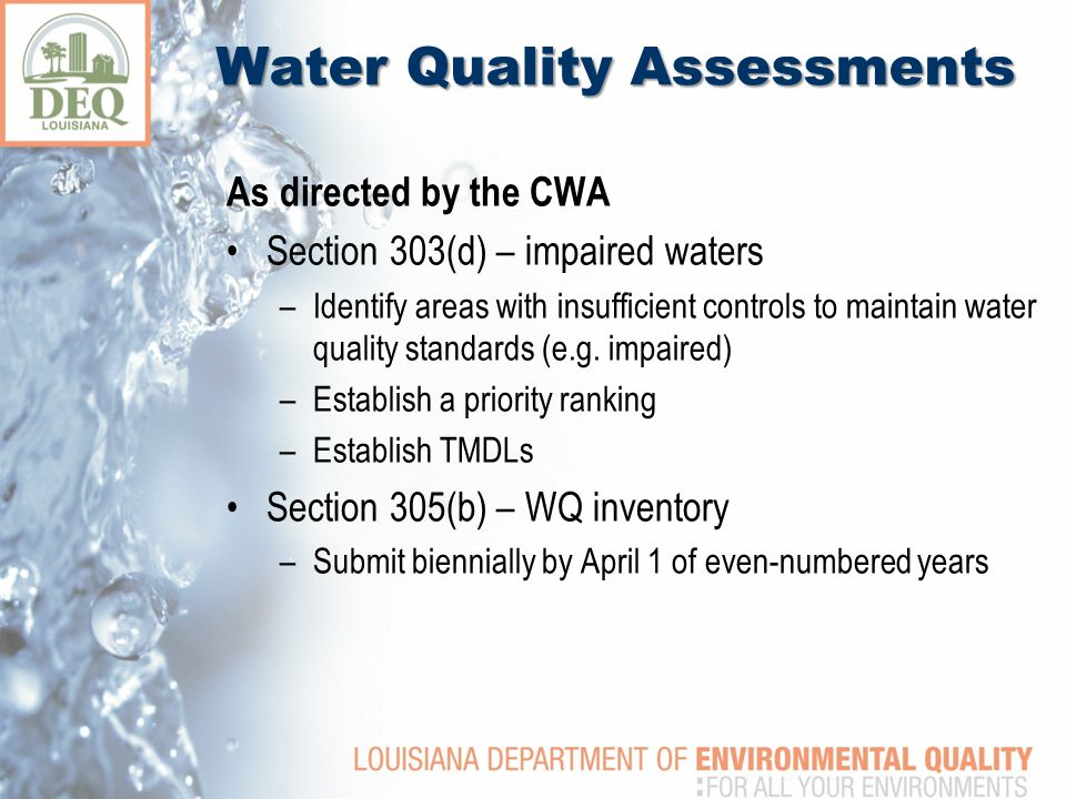 Water Quality Assessments As directed by the CWA Section 303(d) – impaired waters –Identify areas with insufficient controls to maintain water quality standards (e.g.