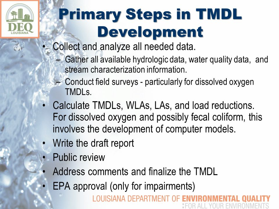 Primary Steps in TMDL Development Collect and analyze all needed data.