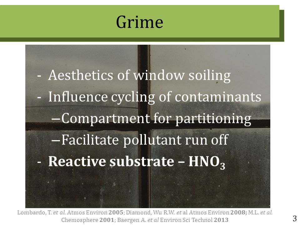 3 -Aesthetics of window soiling -Influence cycling of contaminants – Compartment for partitioning – Facilitate pollutant run off -Reactive substrate – HNO 3 Lombardo, T.