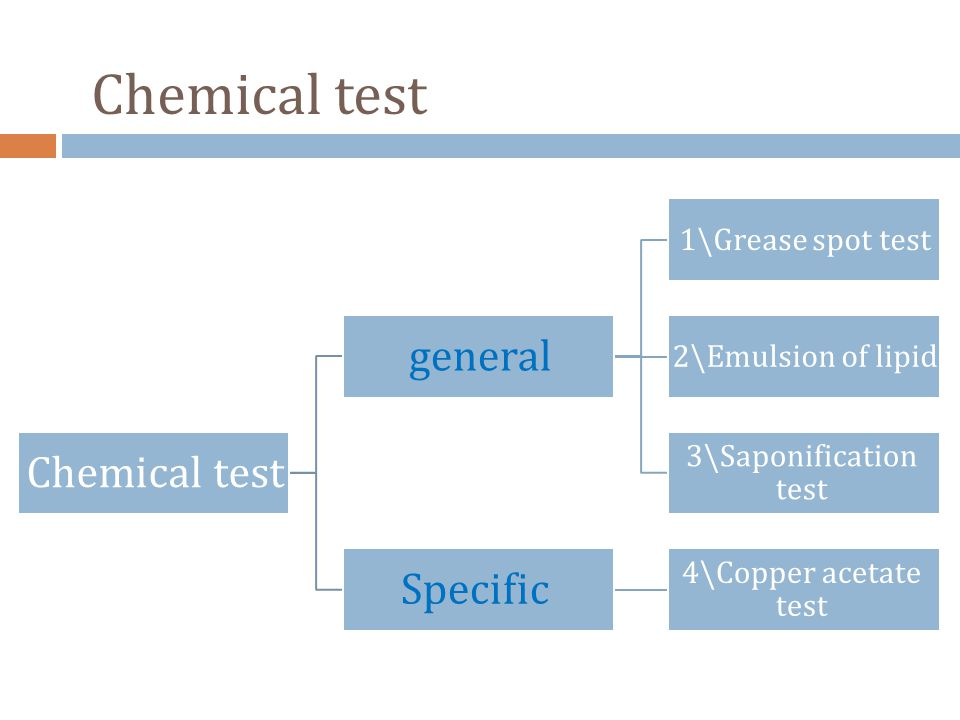 Chemical test general 1\Grease spot test 2\Emulsion of lipid 3\Saponification test Specific 4\Copper acetate test Chemical test