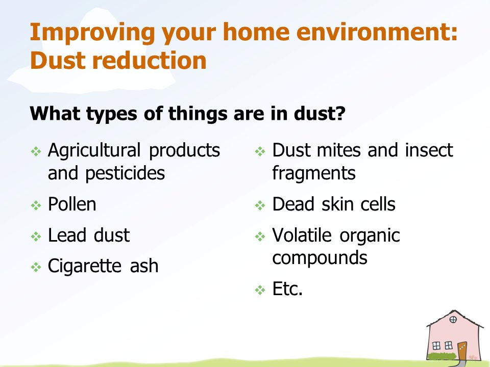 Improving your home environment: Dust reduction What types of things are in dust.