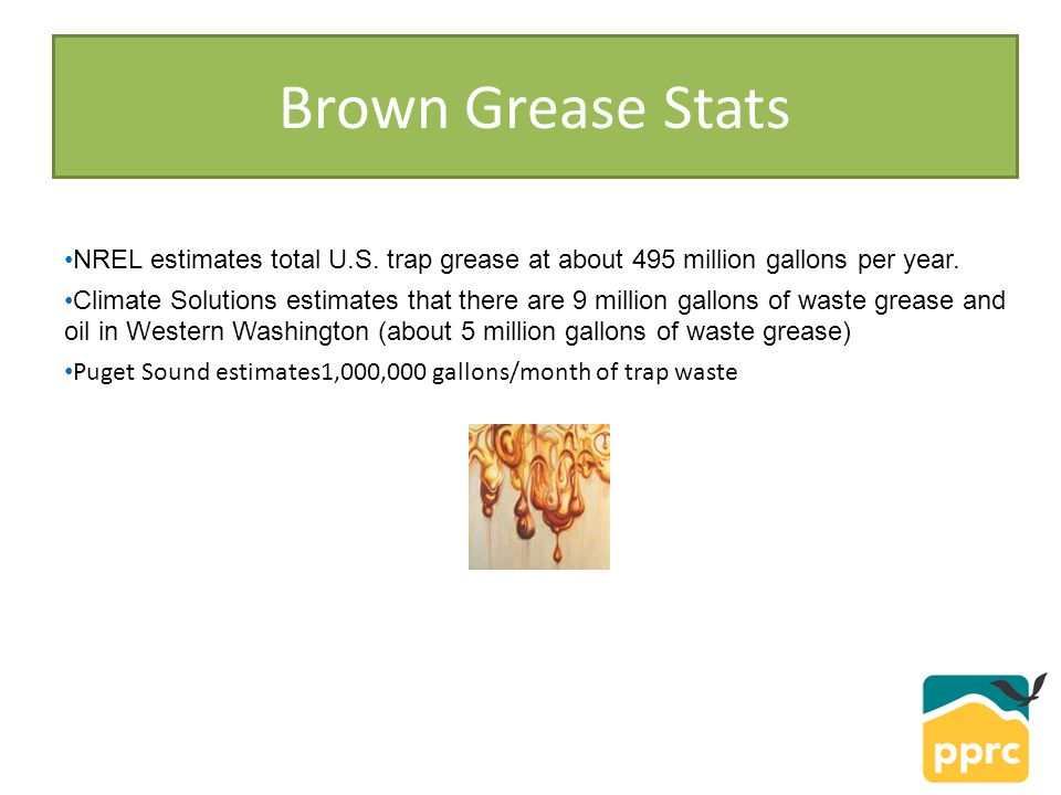 Brown Grease Stats NREL estimates total U.S. trap grease at about 495 million gallons per year.