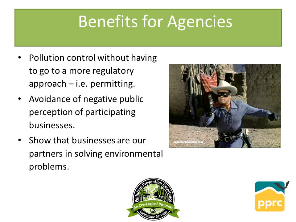 Pollution control without having to go to a more regulatory approach – i.e.