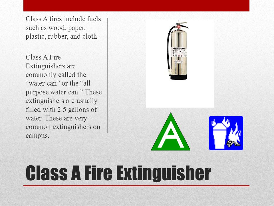 Dry Chemical (ABC, BC, DC) For use on Class A, B, C fires Multipurpose extinguishing agent is a fine powder under pressure.