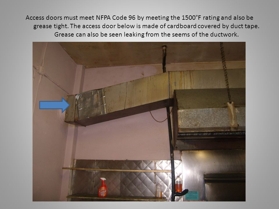 Access doors must meet NFPA Code 96 by meeting the 1500°F rating and also be grease tight.