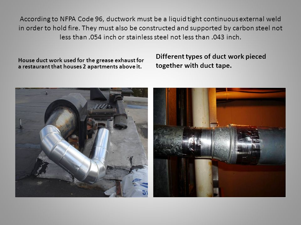 According to NFPA Code 96, ductwork must be a liquid tight continuous external weld in order to hold fire.