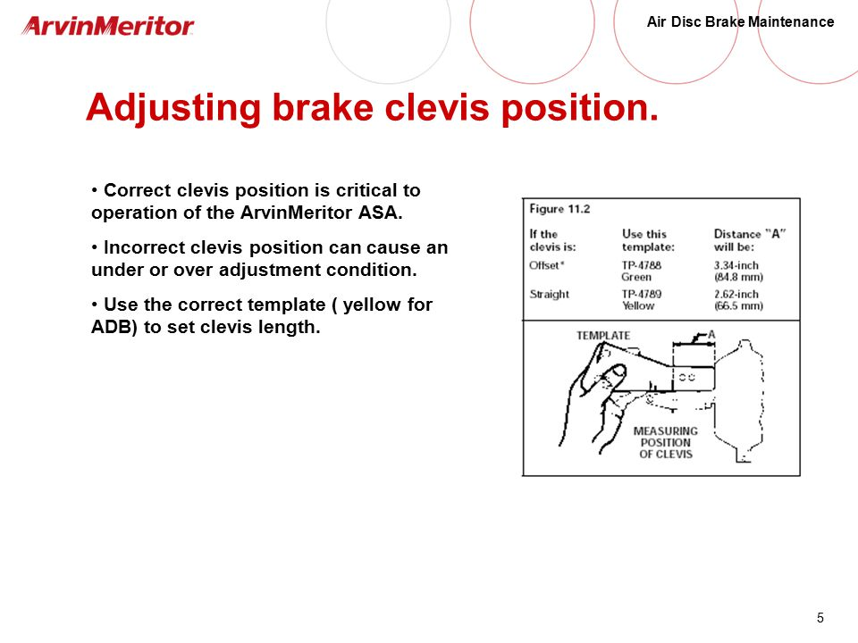 5 Air Disc Brake Maintenance Adjusting brake clevis position.