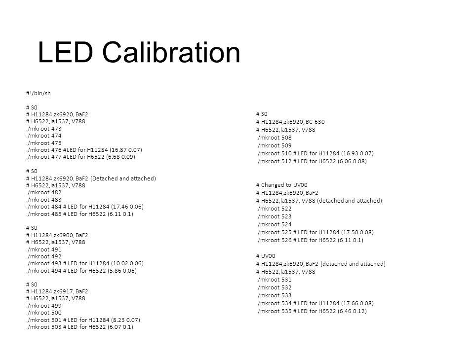 LED Calibration #!/bin/sh # S0 # H11284,zk6920, BaF2 # H6522,la1537, V788./mkroot 473./mkroot 474./mkroot 475./mkroot 476 #LED for H11284 (16.87 0.07)./mkroot 477 #LED for H6522 (6.68 0.09) # S0 # H11284,zk6920, BaF2 (Detached and attached) # H6522,la1537, V788./mkroot 482./mkroot 483./mkroot 484 # LED for H11284 (17.46 0.06)./mkroot 485 # LED for H6522 (6.11 0.1) # S0 # H11284,zk6900, BaF2 # H6522,la1537, V788./mkroot 491./mkroot 492./mkroot 493 # LED for H11284 (10.02 0.06)./mkroot 494 # LED for H6522 (5.86 0.06) # S0 # H11284,zk6917, BaF2 # H6522,la1537, V788./mkroot 499./mkroot 500./mkroot 501 # LED for H11284 (8.23 0.07)./mkroot 503 # LED for H6522 (6.07 0.1) # S0 # H11284,zk6920, BC-630 # H6522,la1537, V788./mkroot 508./mkroot 509./mkroot 510 # LED for H11284 (16.93 0.07)./mkroot 512 # LED for H6522 (6.06 0.08) # Changed to UV00 # H11284,zk6920, BaF2 # H6522,la1537, V788 (detached and attached)./mkroot 522./mkroot 523./mkroot 524./mkroot 525 # LED for H11284 (17.50 0.08)./mkroot 526 # LED for H6522 (6.11 0.1) # UV00 # H11284,zk6920, BaF2 (detached and attached) # H6522,la1537, V788./mkroot 531./mkroot 532./mkroot 533./mkroot 534 # LED for H11284 (17.66 0.08)./mkroot 535 # LED for H6522 (6.46 0.12)