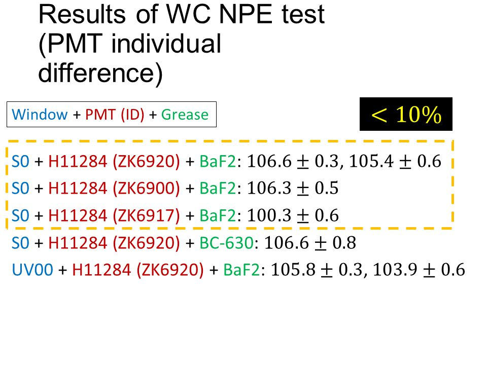 Results of WC NPE test (PMT individual difference) Window + PMT (ID) + Grease
