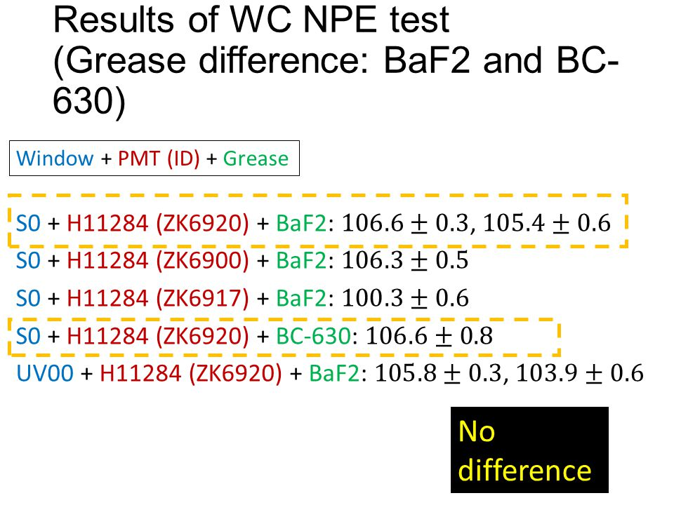 Results of WC NPE test (Grease difference: BaF2 and BC- 630) Window + PMT (ID) + Grease No difference