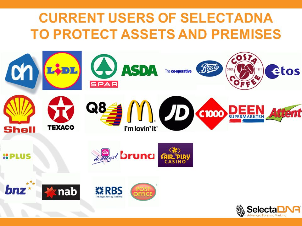 CURRENT USERS OF SELECTADNA TO PROTECT ASSETS AND PREMISES