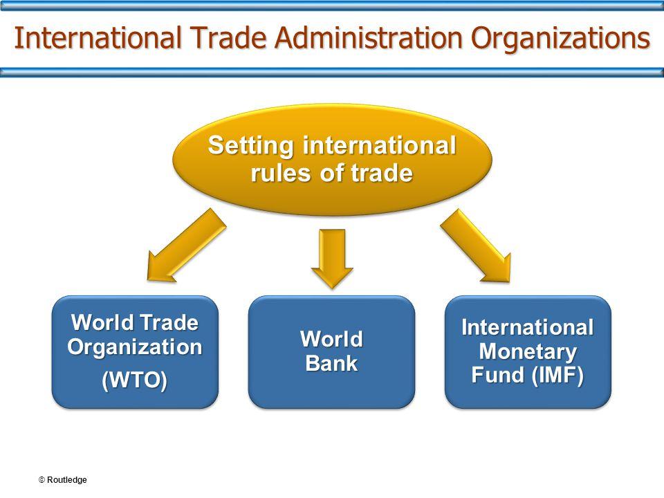 International Trade Administration Organizations Setting international rules of trade World Trade Organization (WTO) (WTO) World Bank International Monetary Fund (IMF)