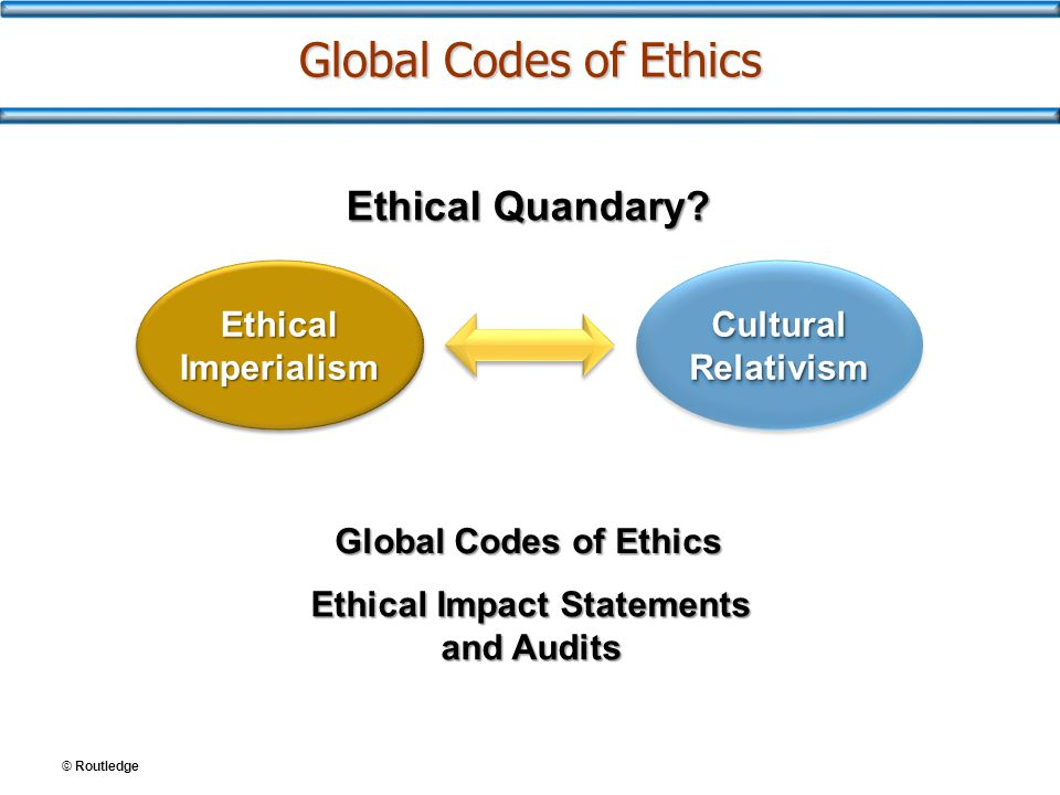 © Routledge Global Codes of Ethics Ethical Imperialism Cultural Relativism Ethical Quandary? Global Codes of Ethics Ethical Impact Statements and Audi