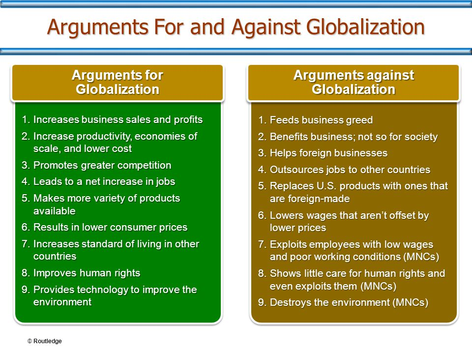 © Routledge Arguments For and Against Globalization 1.Increases business sales and profits 2.Increase productivity, economies of scale, and lower cost 3.Promotes greater competition 4.Leads to a net increase in jobs 5.Makes more variety of products available 6.Results in lower consumer prices 7.Increases standard of living in other countries 8.Improves human rights 9.Provides technology to improve the environment 1.Increases business sales and profits 2.Increase productivity, economies of scale, and lower cost 3.Promotes greater competition 4.Leads to a net increase in jobs 5.Makes more variety of products available 6.Results in lower consumer prices 7.Increases standard of living in other countries 8.Improves human rights 9.Provides technology to improve the environment 1.Feeds business greed 2.Benefits business; not so for society 3.Helps foreign businesses 4.Outsources jobs to other countries 5.Replaces U.S.