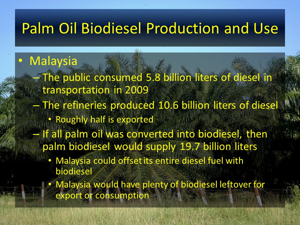 Palm Oil Biodiesel Production and Use Malaysia – The public consumed 5.8 billion liters of diesel in transportation in 2009 – The refineries produced