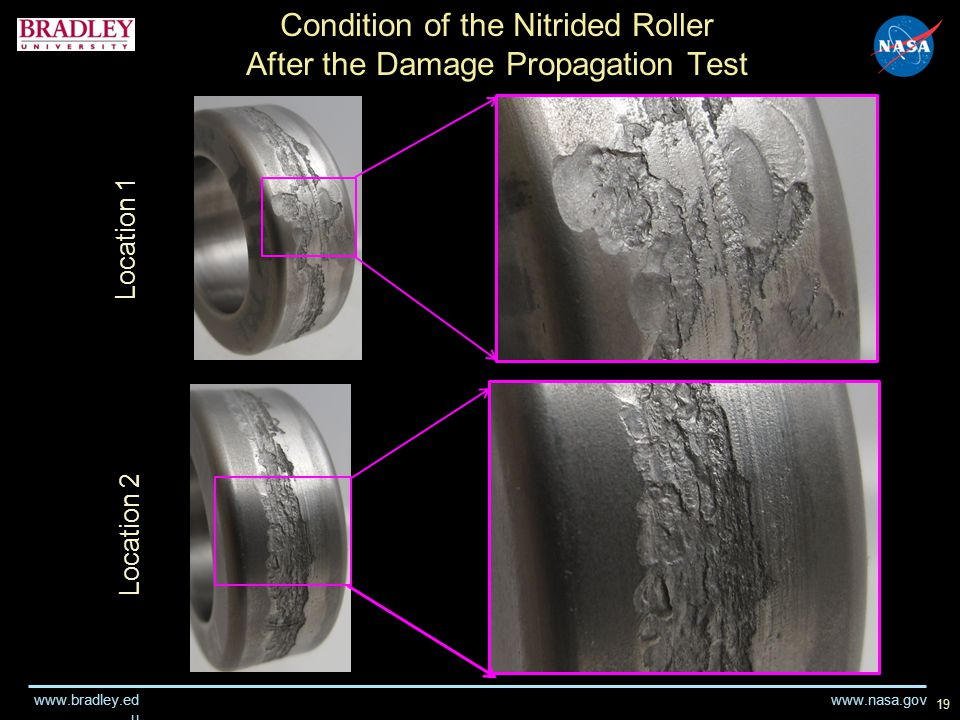 www.nasa.gov www.bradley.ed u 19 Condition of the Nitrided Roller After the Damage Propagation Test Location 1 Location 2