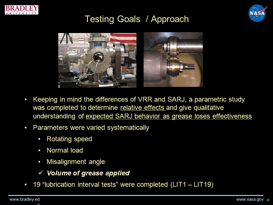 www.nasa.gov www.bradley.ed u Testing Goals / Approach 24 Keeping in mind the differences of VRR and SARJ, a parametric study was completed to determine relative effects and give qualitative understanding of expected SARJ behavior as grease loses effectiveness Parameters were varied systematically Rotating speed Normal load Misalignment angle Volume of grease applied 19 lubrication interval tests were completed (LIT1 – LIT19)