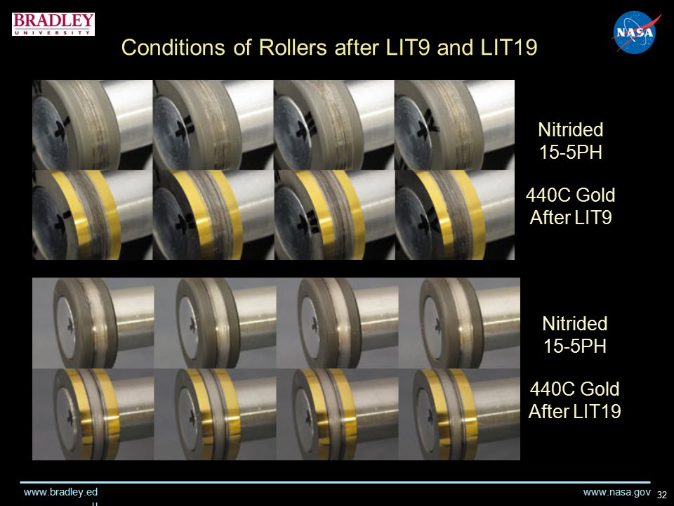 www.nasa.gov www.bradley.ed u 32 Conditions of Rollers after LIT9 and LIT19 Nitrided 15-5PH 440C Gold After LIT9 Nitrided 15-5PH 440C Gold After LIT19