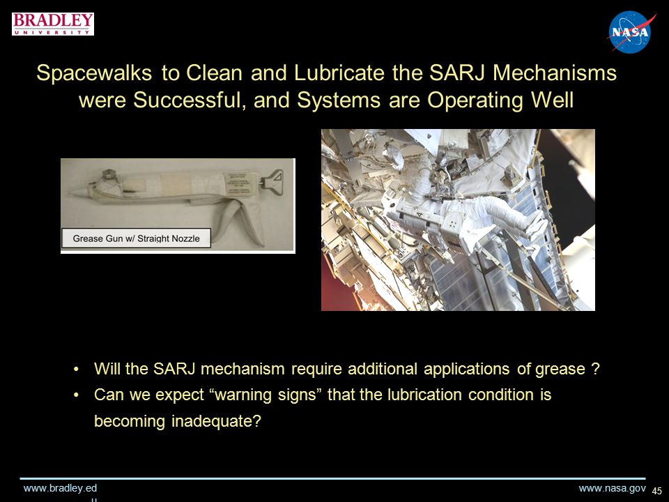 www.nasa.gov www.bradley.ed u 45 Spacewalks to Clean and Lubricate the SARJ Mechanisms were Successful, and Systems are Operating Well Will the SARJ mechanism require additional applications of grease .