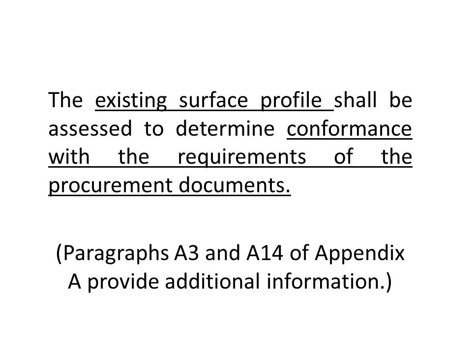Absent from the New Standards Table A1: Description of Nonvisible Surface Cleanliness Definitions (A) (NV) Term Description of Surface NV-1 An NV-1 surface shall be free of detectable levels of soluble contaminants… NV-2 An NV-2 surface shall have less than 7 μg/cm 2 of chloride contaminants, less than 10 μg/cm 2 of soluble ferrous ion or less than 17 μg/cm 2 of sulfate contaminants… NV-3 An NV-3 surface shall have less than 50 μg/cm 2 of chloride or sulfate contaminants… (…verified by field or laboratory analysis using reliable, reproducible test methods.) ____________________________ (A) Additional information on suitable procedures for extracting and analyzing soluble salts is available in NACE Publication 6G186,8 and SSPC-TU 4.9